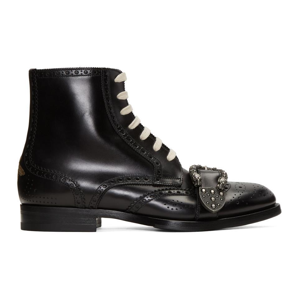 dcde375fa48 Gucci Men s Spirit Tiger Head Buckled Brogue Boots In Black in Black ...