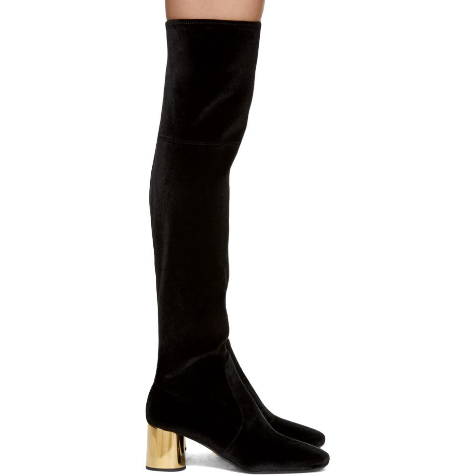Black and Gold Square Over-the-Knee Boots Prada 2QTaMKr