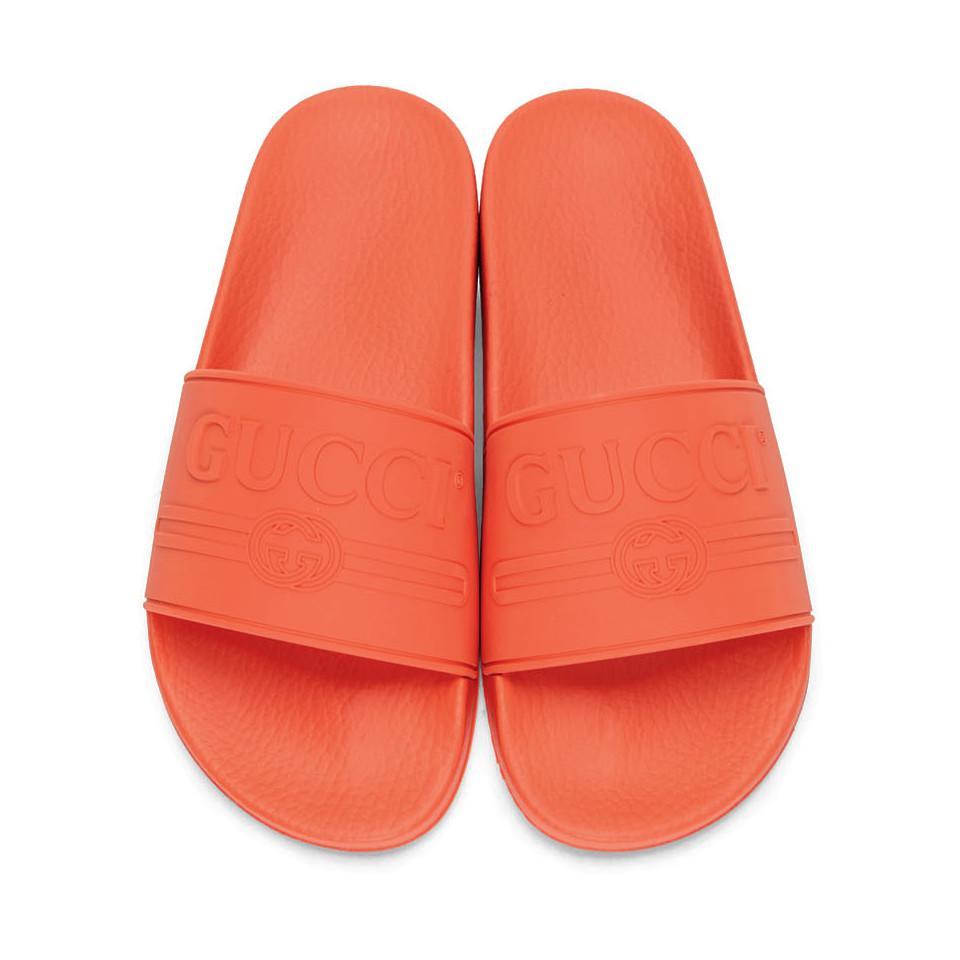 61695456c Gucci - Multicolor Orange Pursuit Pool Slides for Men - Lyst. View  fullscreen