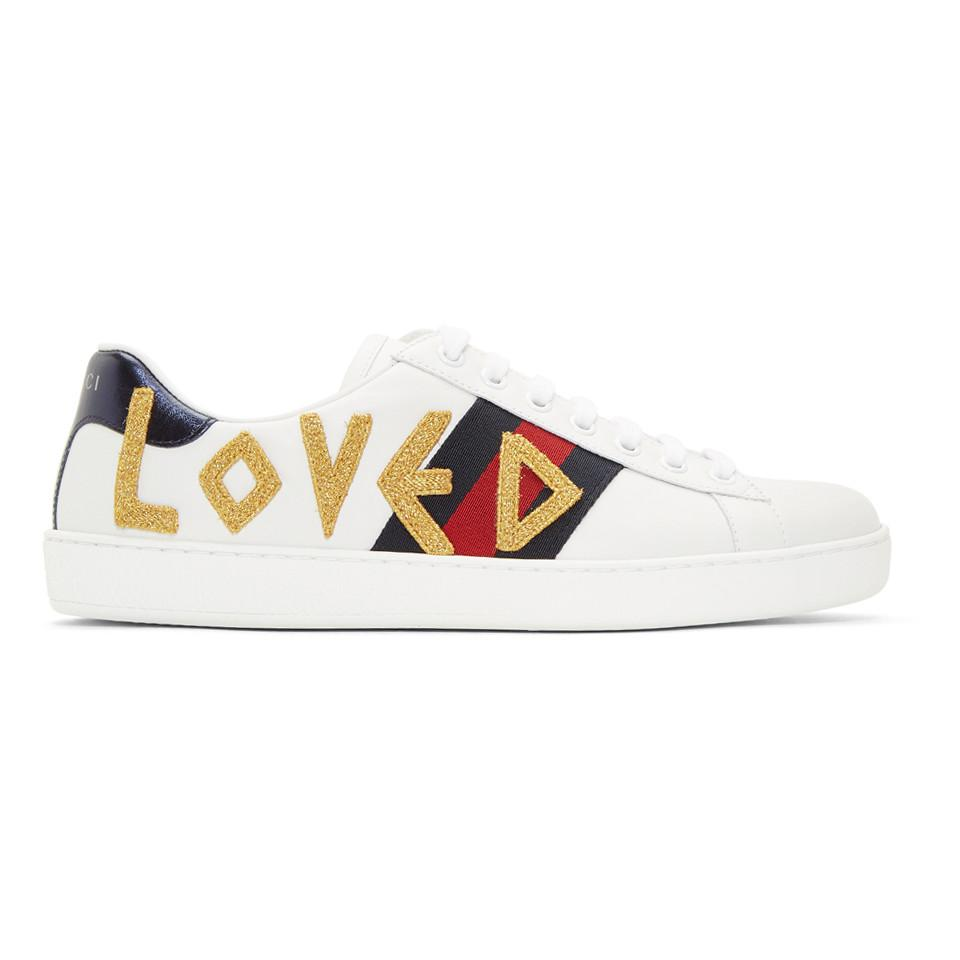 Gucci White Loved New Ace Sneakers In White For Men Lyst