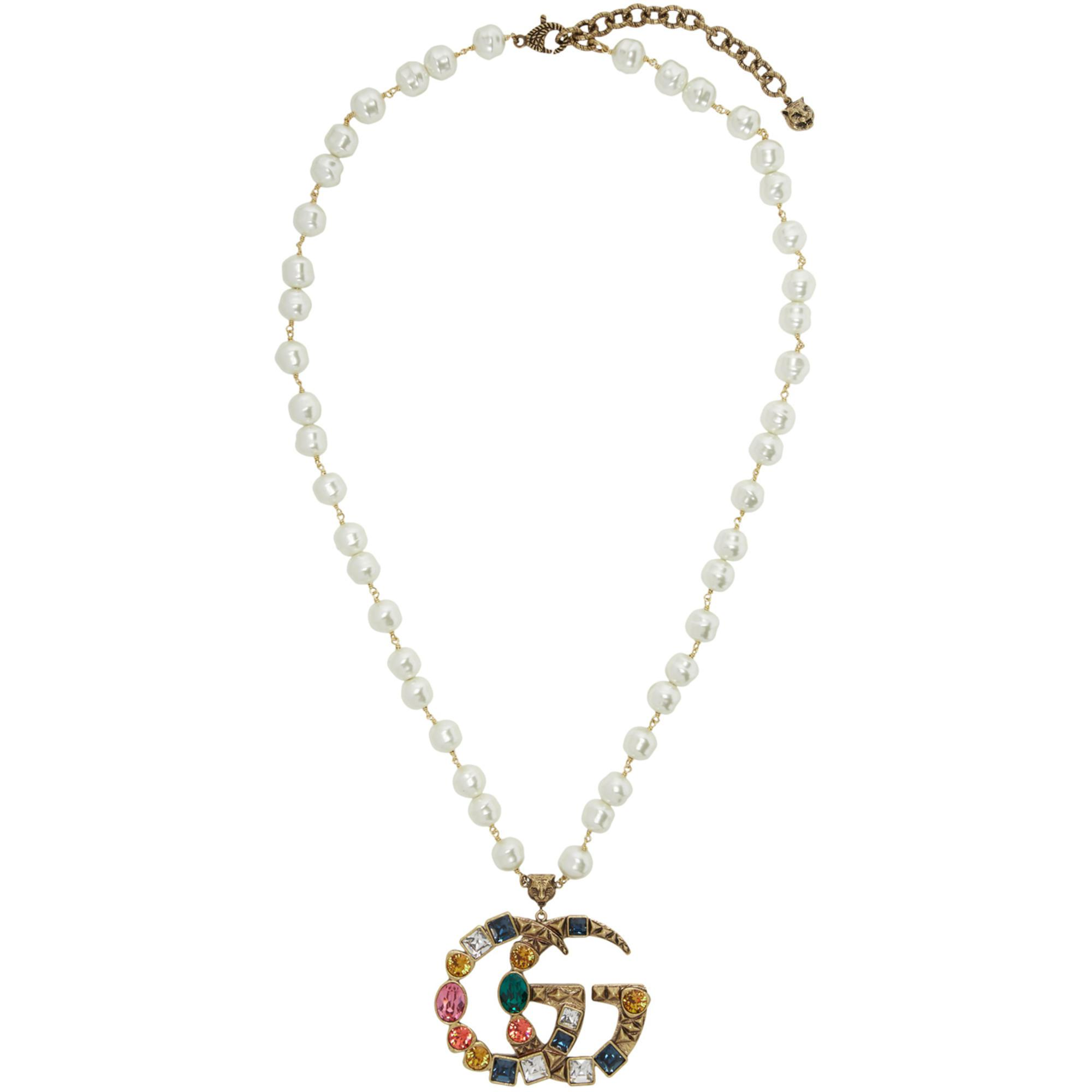 Gucci Guccy crystal pendant necklace - Metallic yVyTSc7