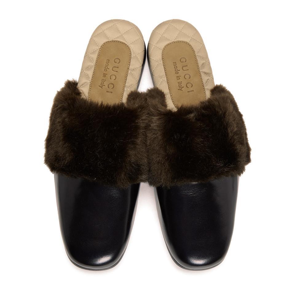 Black Faux-Fur Lawrence Loafers Gucci N5JNr3NuzW