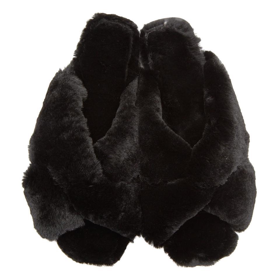 Alumnae Black Fur Turban Slides ujuPTG
