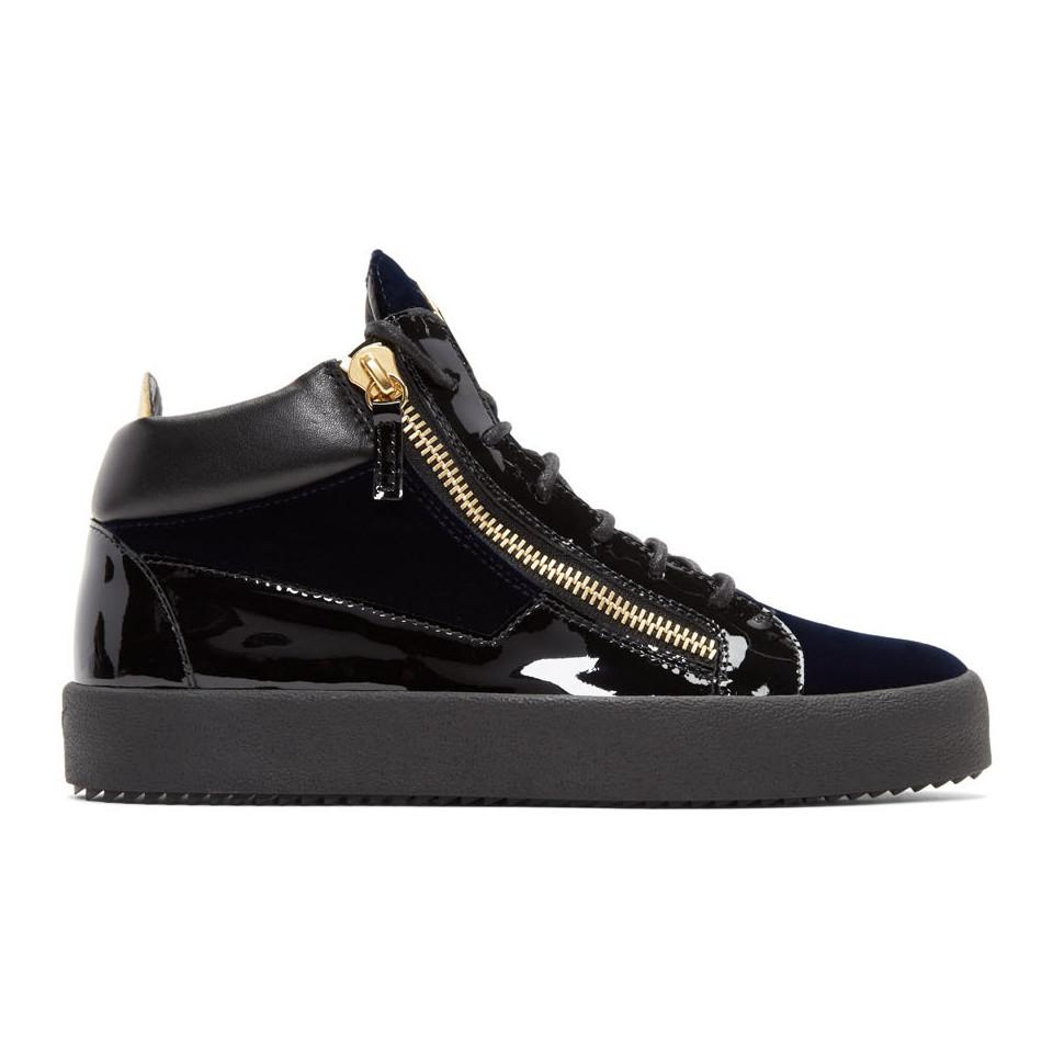 Giuseppe Zanotti Navy Velvet Veronica High-Top Sneakers