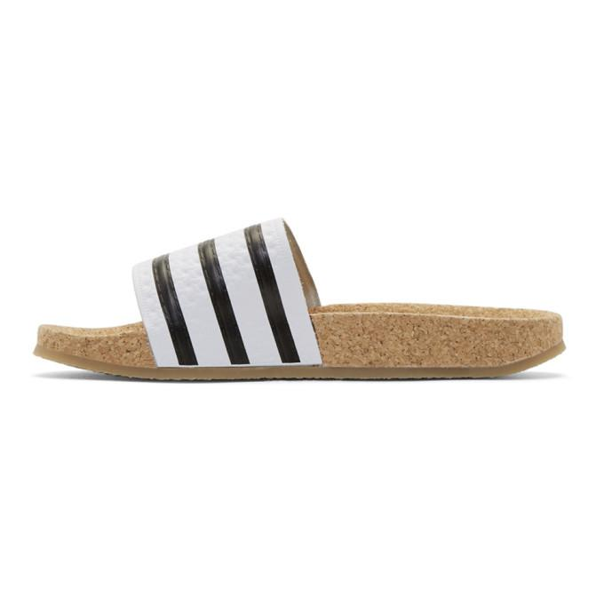 c5d45b654d0e7 adidas Originals White Adilette Cork Slide Sandals in White - Lyst