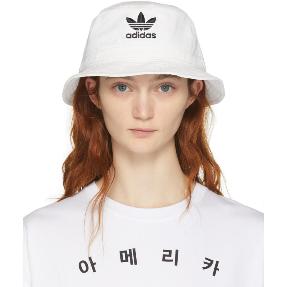 Lyst - adidas Originals White Og Washed Bucket Hat in White 8d7d5731c57
