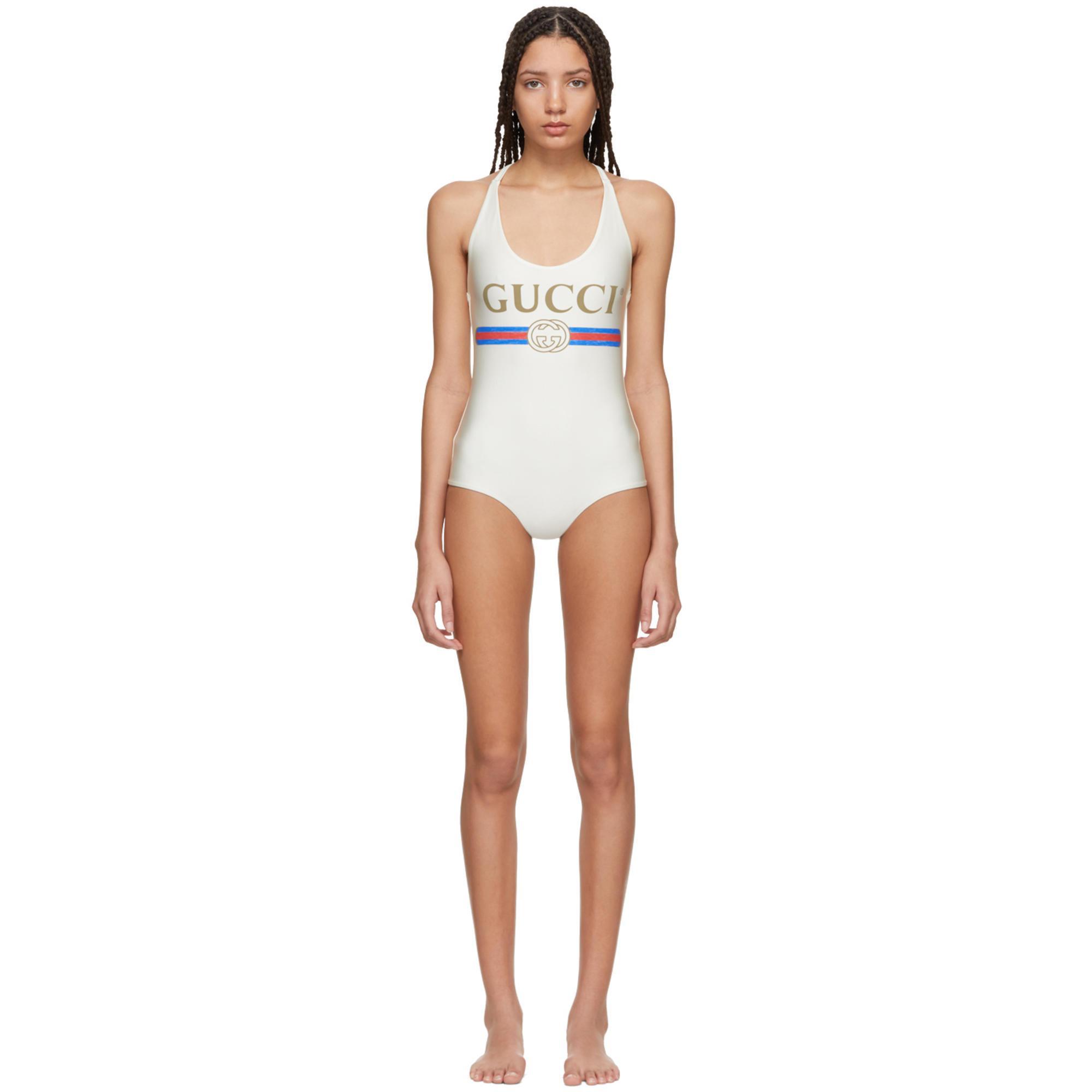 Lyst - Maillot de bain à logo blanc Gucci en coloris Blanc 2a4690cc478c
