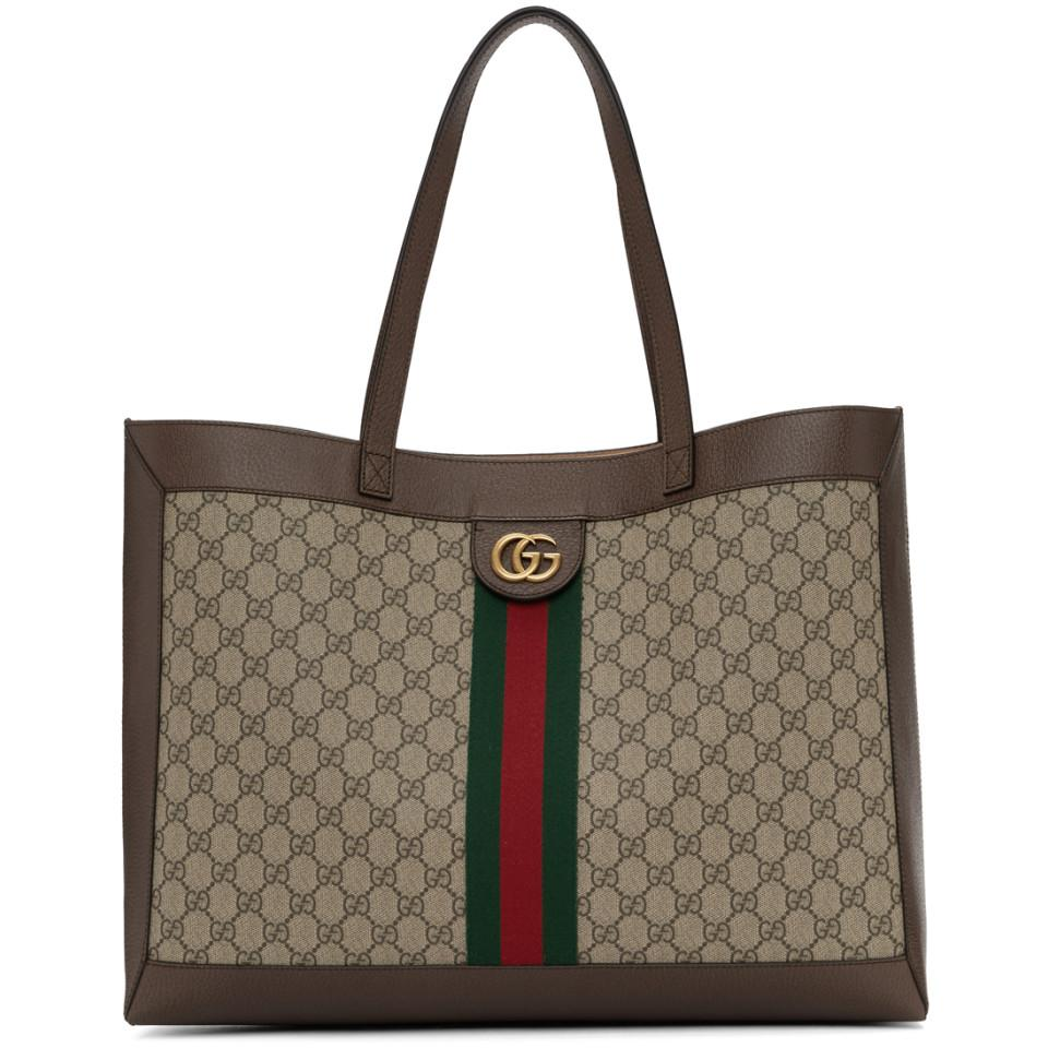 3bec6564ad4984 Gucci Brown GG Ophidia Tote in Natural - Save 11% - Lyst