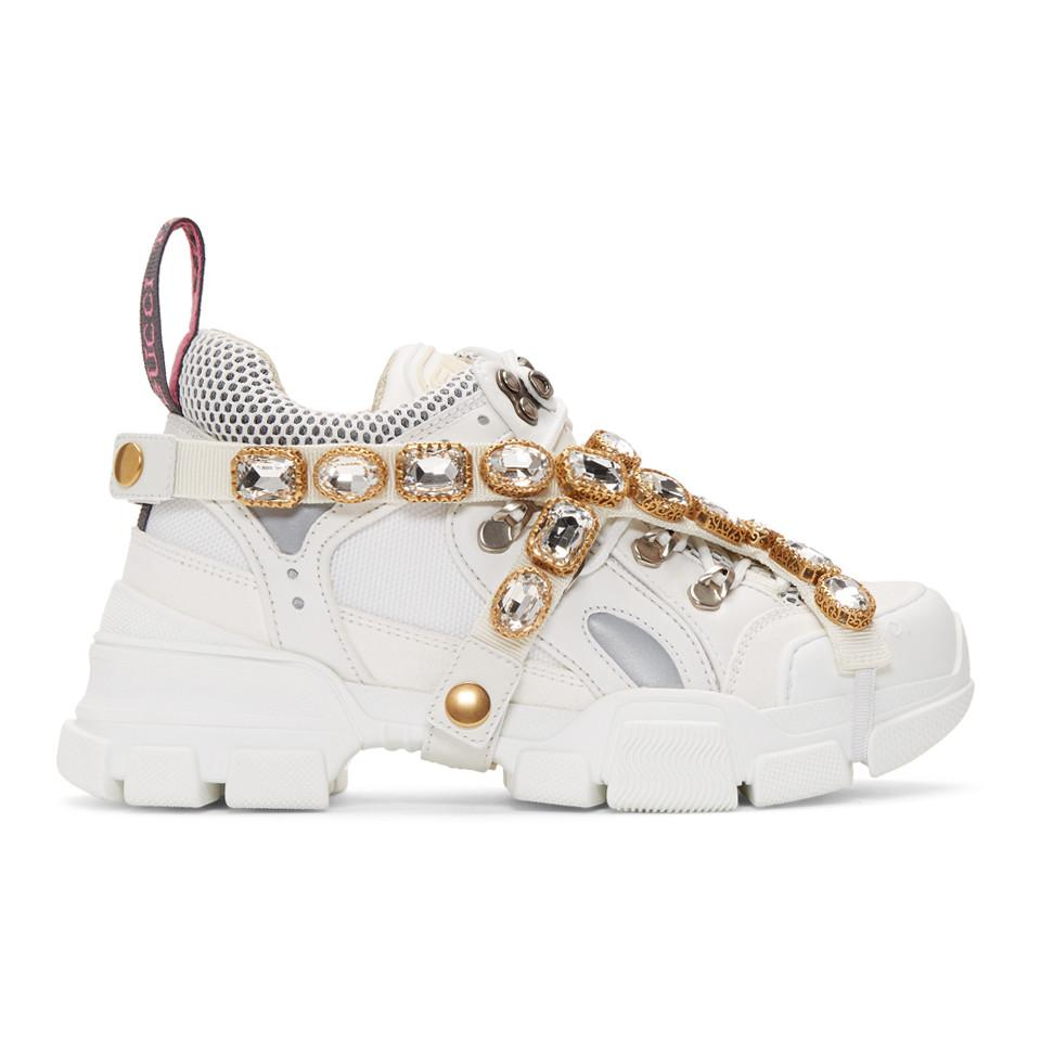 867e482f90c4 Gucci White Crystal Flashtrek Sneakers in White - Save 51% - Lyst