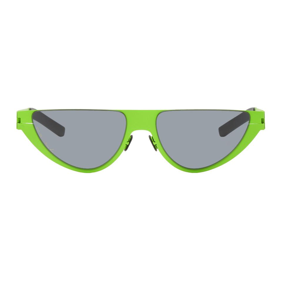 56bd41ff72 Lyst - Martine Rose Green Mykita Edition Kitt Sunglasses in Green ...