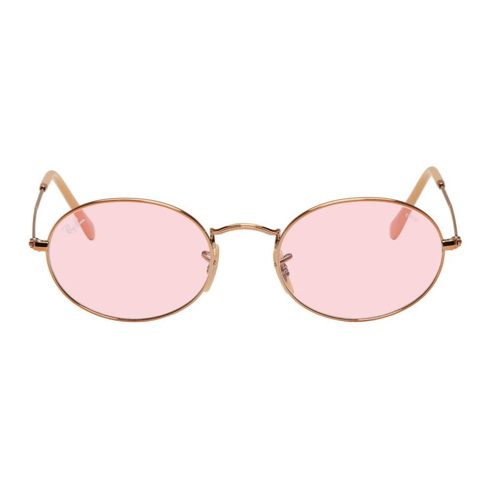 28409325948 Lyst - Ray-Ban Copper And Pink Oval Evolve Sunglasses for Men