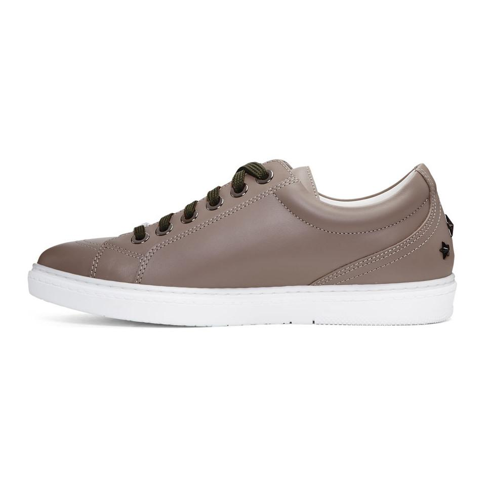 Jimmy Choo Taupe Leather Cash Sneakers LVCMC61P0