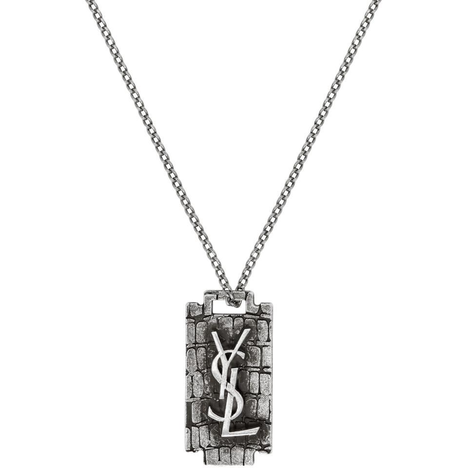 0efebca486112 Saint Laurent Silver Monogramme Razor Blade Necklace for Men - Lyst