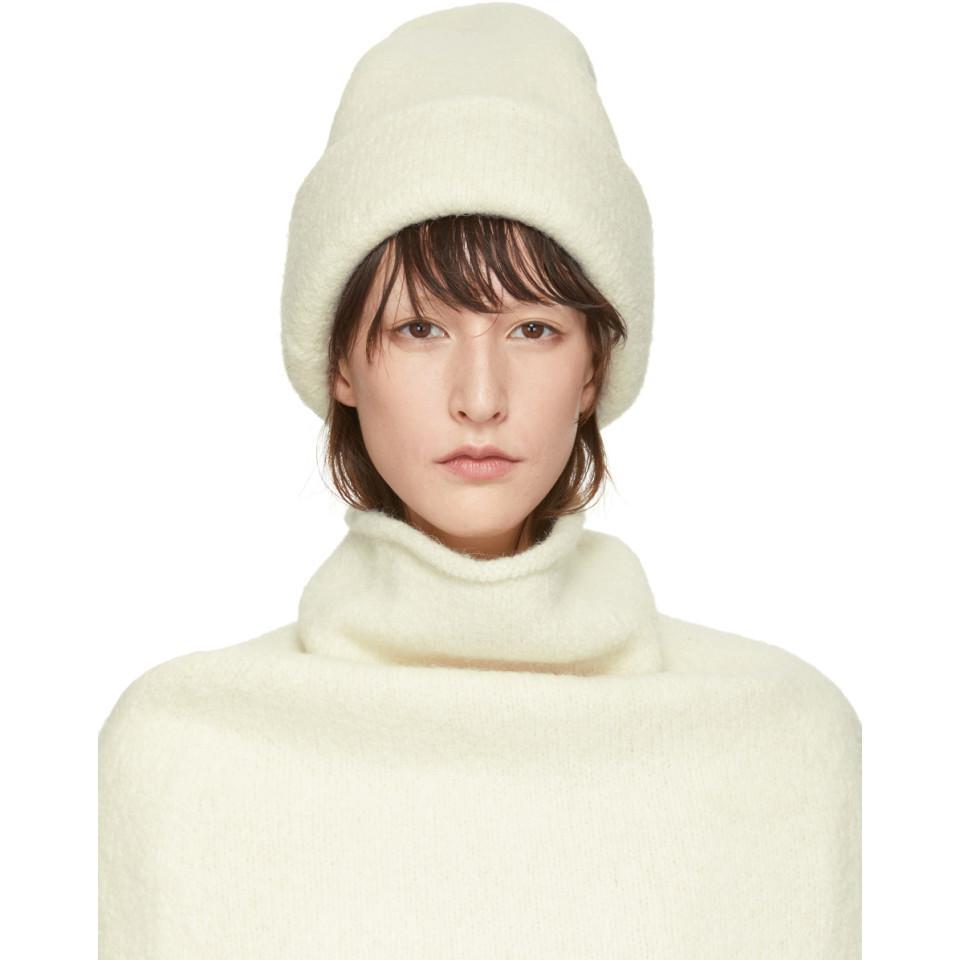 Lyst - Lauren Manoogian Off-white Alpaca Carpenter Beanie in White 6d733c239afa