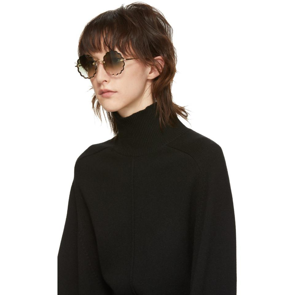 b833d10c6a025 Chloé Khaki Rosie Petite Sunglasses - Lyst