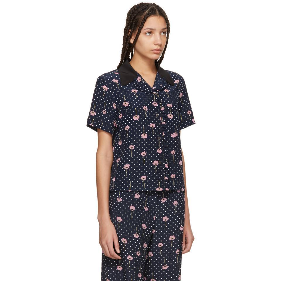 d3a6537f28aa5 ... Blue Navy Floral Polka Dot Pyjama Shirt - Lyst. View fullscreen