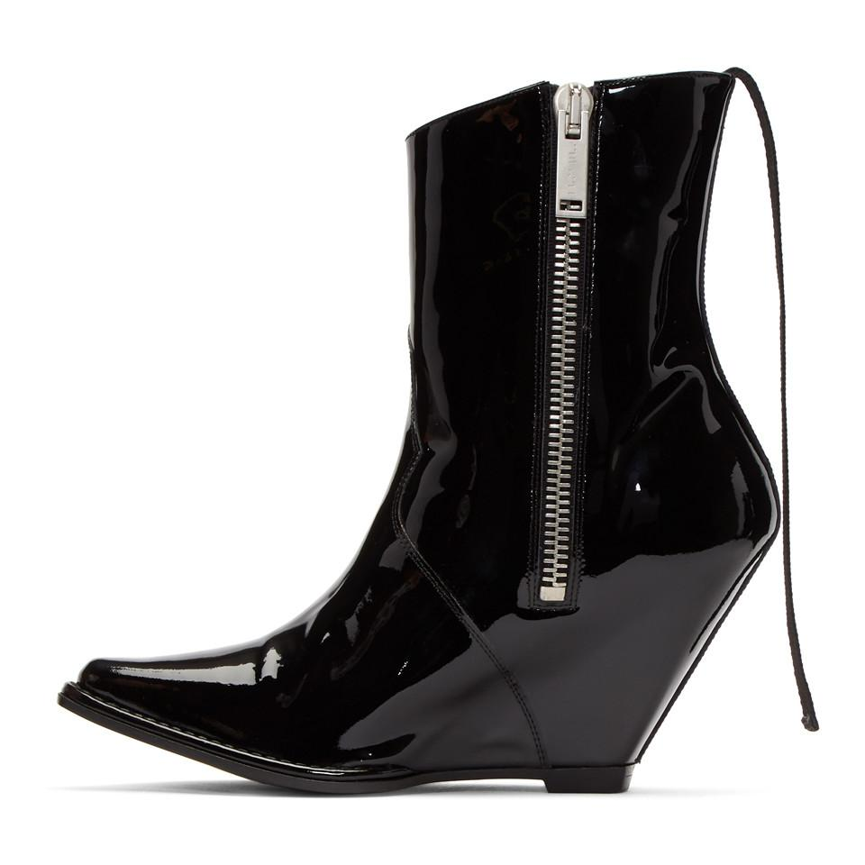 Outlet 100% Original Clearance Pay With Visa Black Latex Low Wedge Boots Unravel Get Authentic Online JbqzK9