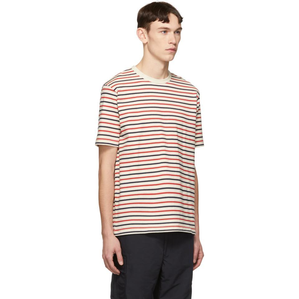 5d3583c19e Junya Watanabe - Red Off-white Horizontal Stripes T-shirt for Men - Lyst.  View fullscreen
