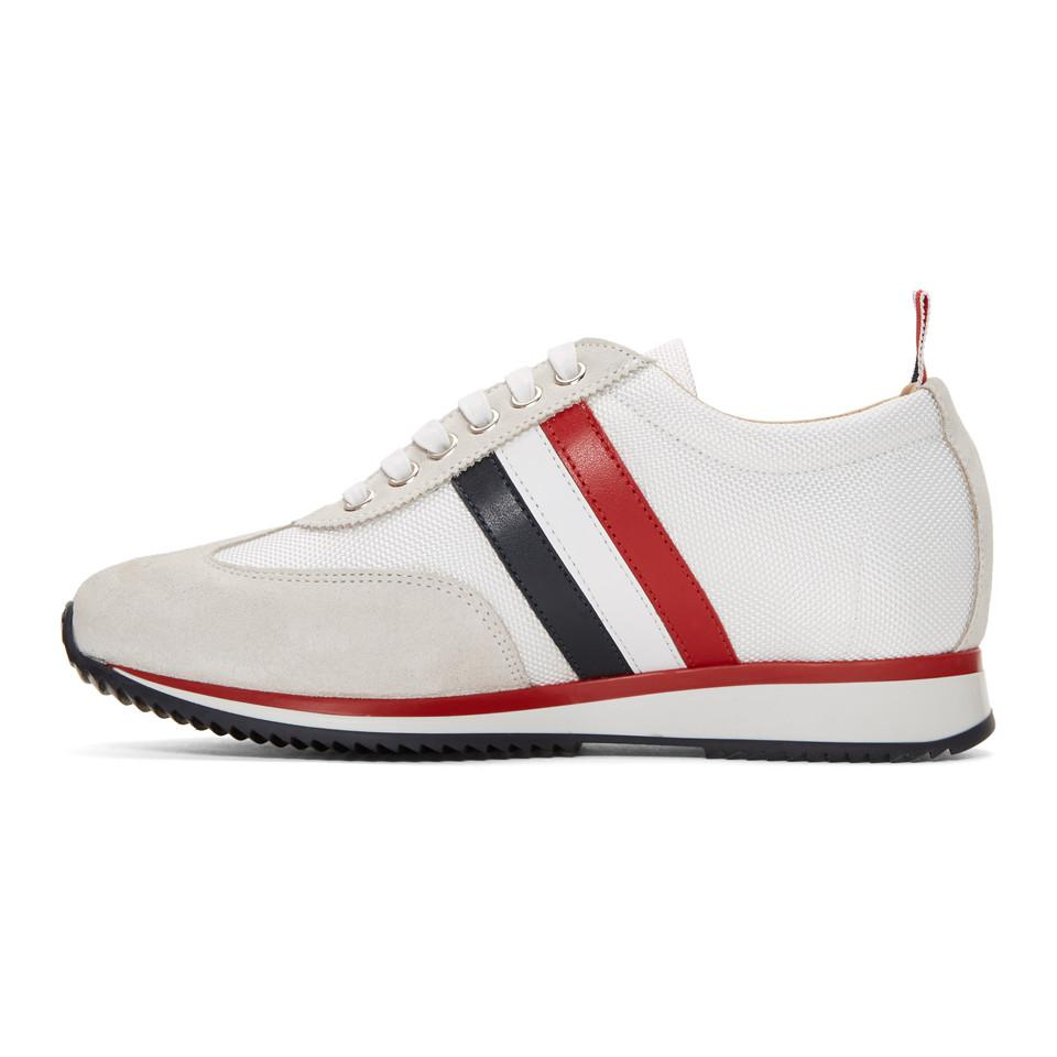 sale comfortable free shipping deals Thom Browne Off-White Suede Tricolor Stripe Sneakers yLDmrS