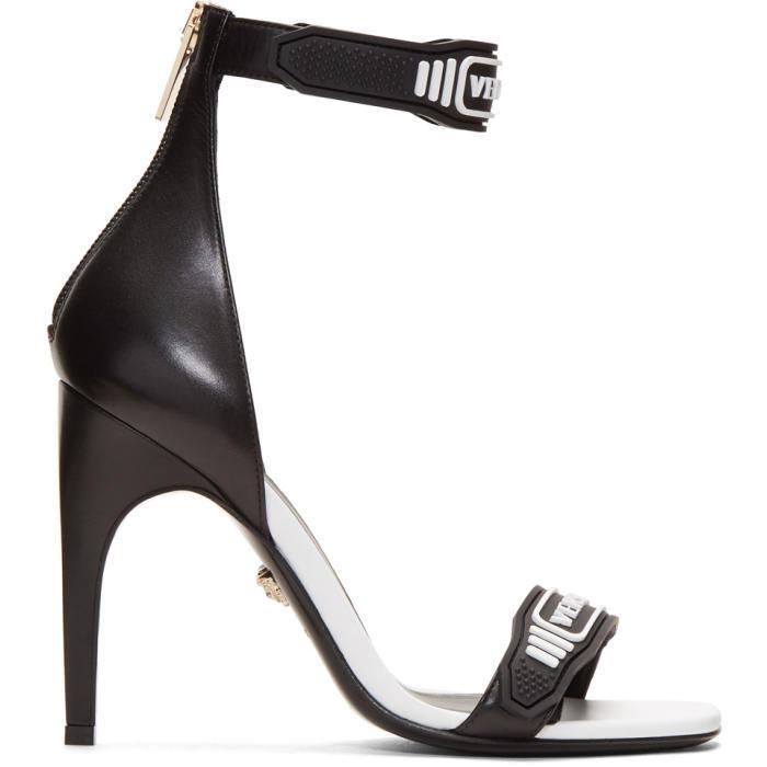 a69453d53 Lyst - Versace Black   White Logo Strap Sandals in Black