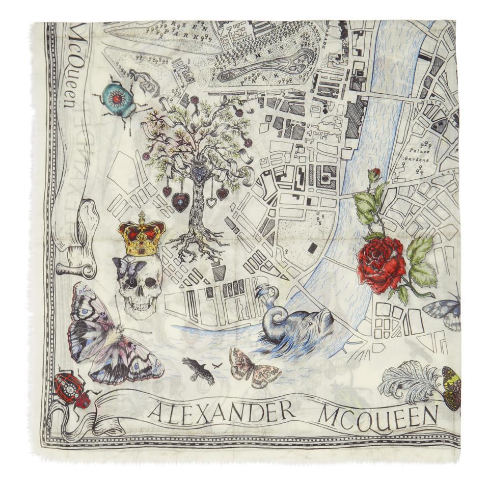 8e82cb2ba957 Lyst - Alexander McQueen Ivory Paris City Map Scarf in White