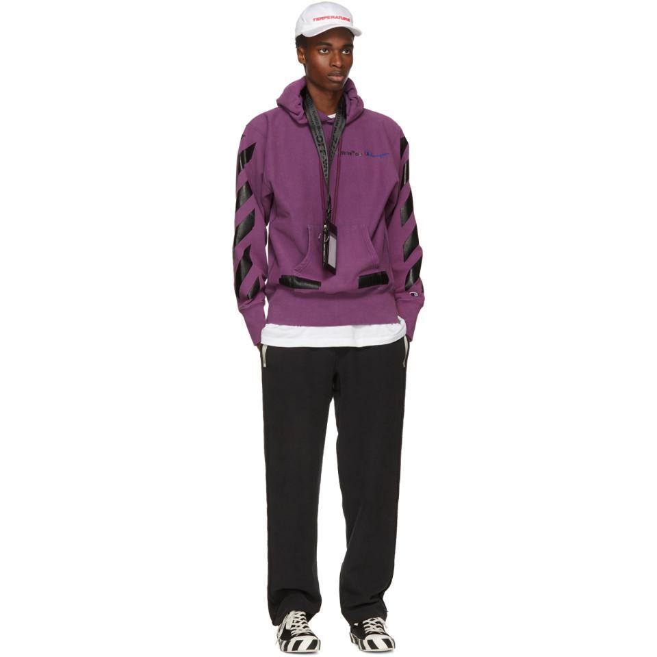 b0ae29723365 Lyst - Off-White c o Virgil Abloh Purple Champion Reverse Weave ...