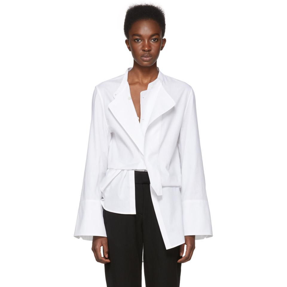 SSENSE Exclusive White Spread Collar Ann Demeulemeester Cheap Genuine df7NcP
