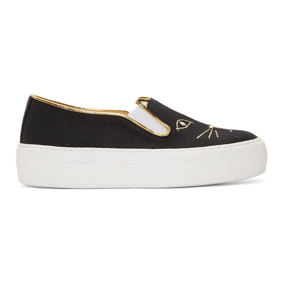Charlotte Olympia Black Chain Skate Slip-On Sneakers dgMI2Hl74