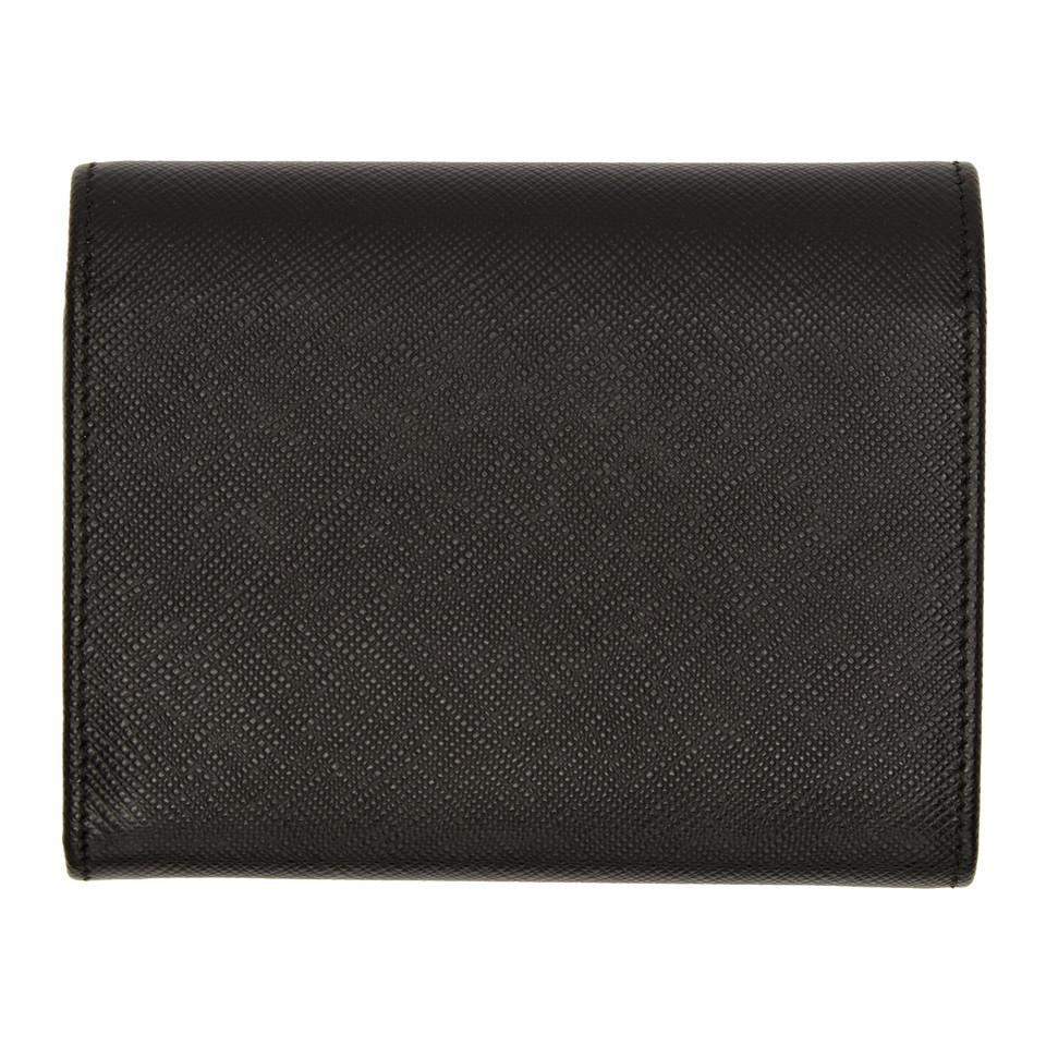 3cd6849923d7b0 order prada black saffiano trifold wallet lyst. view fullscreen 5a454 6409b
