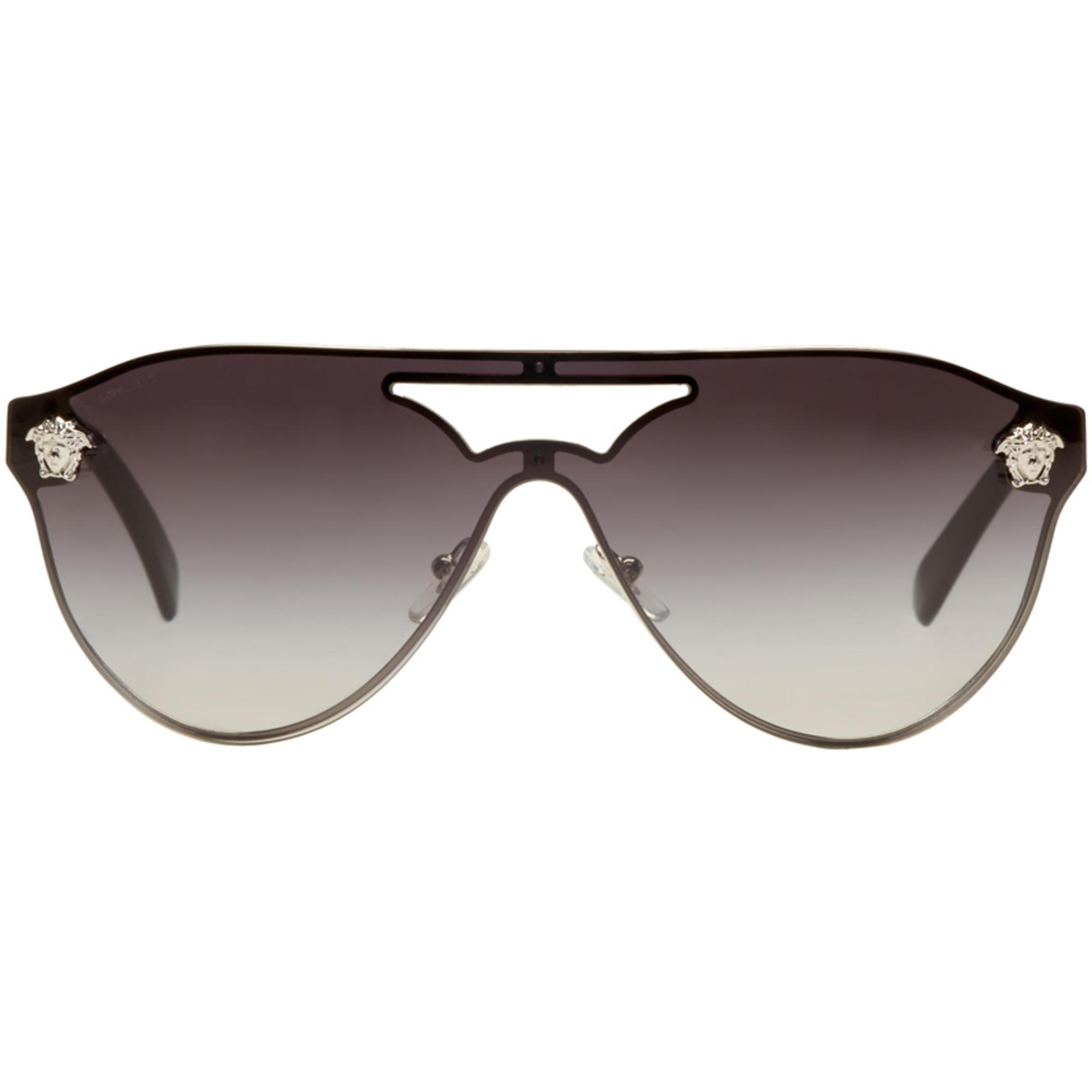 260f2830fe4 Lyst - Versace Silver And Black Medusa Visor Sunglasses in Metallic ...