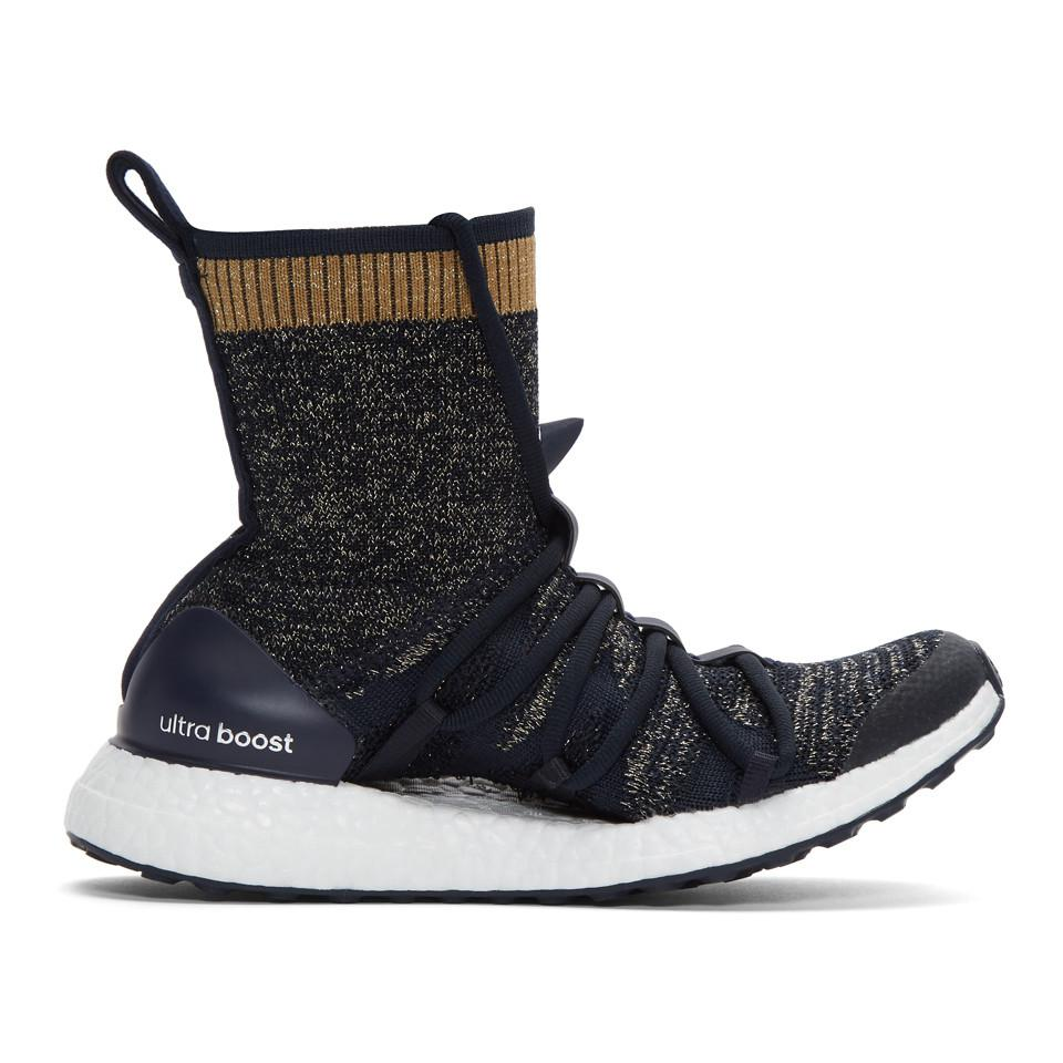 6ea14289bb974 Lyst - adidas By Stella McCartney Navy Ultra Boost X Mid Sneakers in ...