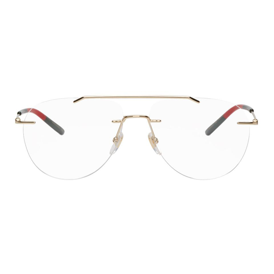 93aa0a8eade Gucci. Women s Gold Rimless Pilot Glasses