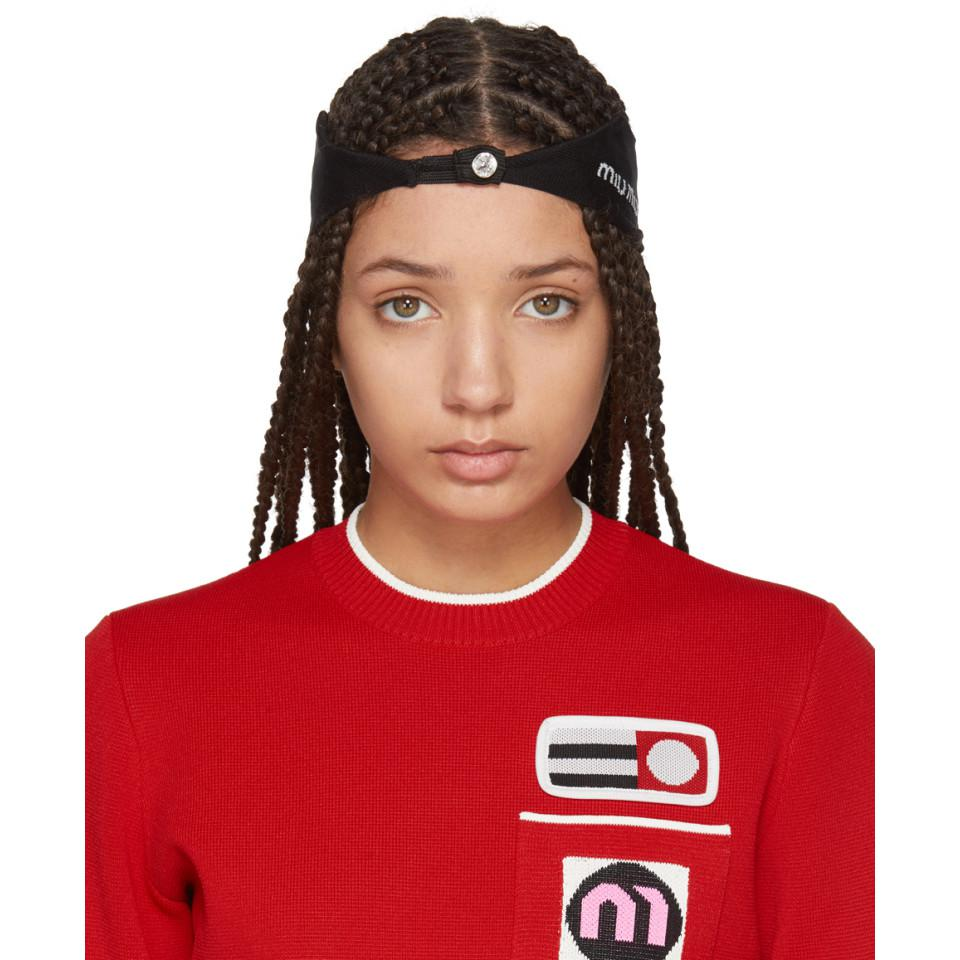 Black Crystal Logo Headband Miu Miu Sls8A