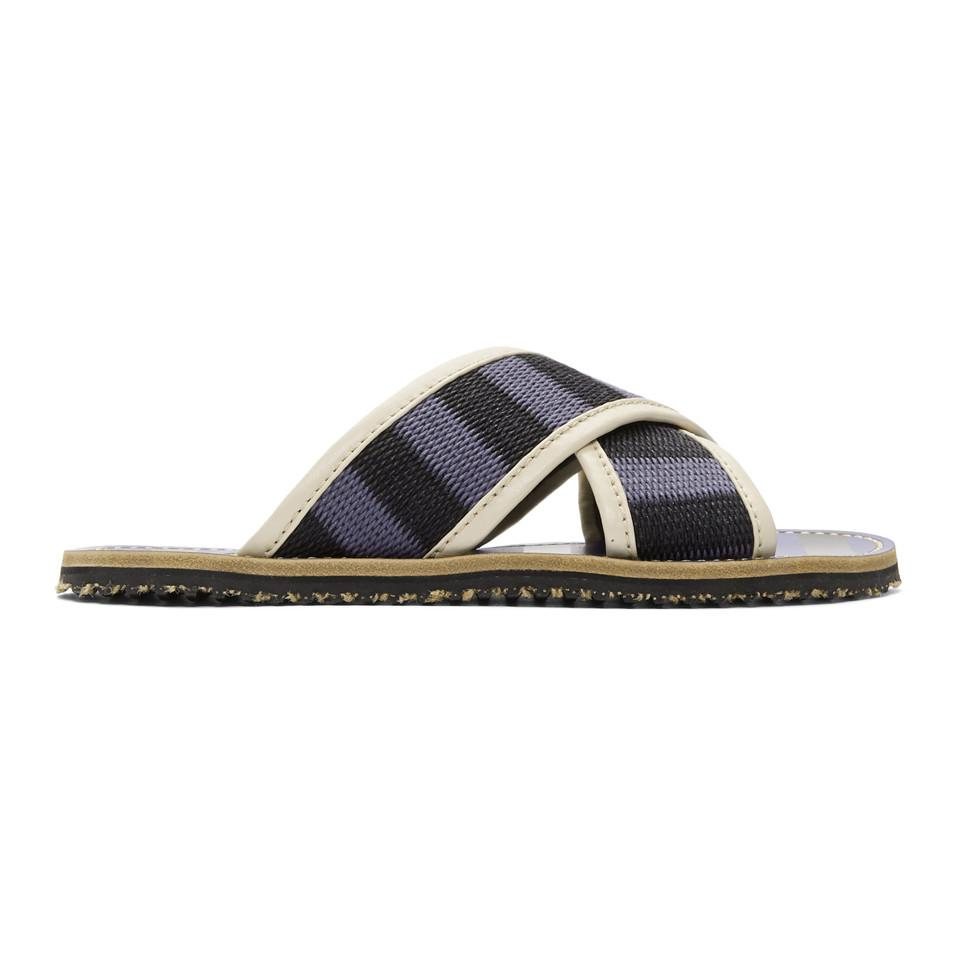 Marni Blue & Black Striped Nastro Sandals ObuMlwpajs