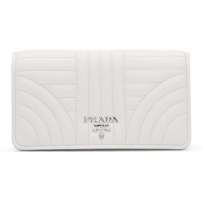 e86694c798b411 ... italy lyst prada white quilted wallet chain bag in white e2456 b664a