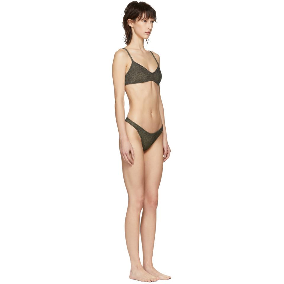 1237ff01d7 Lyst - Solid   Striped Grey And Gold Metallic Rib The Rachel Bikini ...