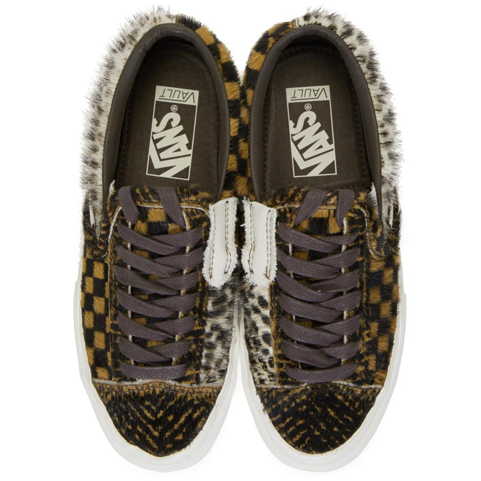 9695448824 Lyst - Vans Brown Vault Pony Hair Slip-on Cap Lx Sneakers in Brown ...