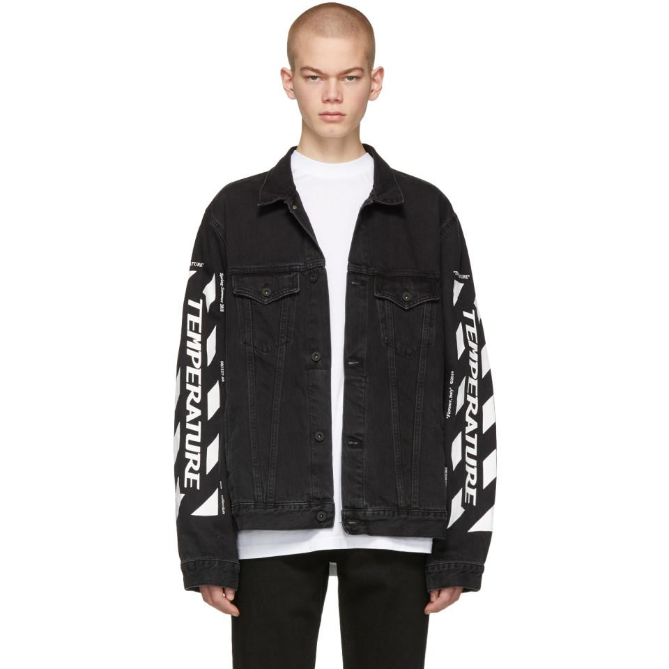 Off-White c/o Virgil Abloh. Men's Ssense Exclusive Black Denim Temperature  Jacket