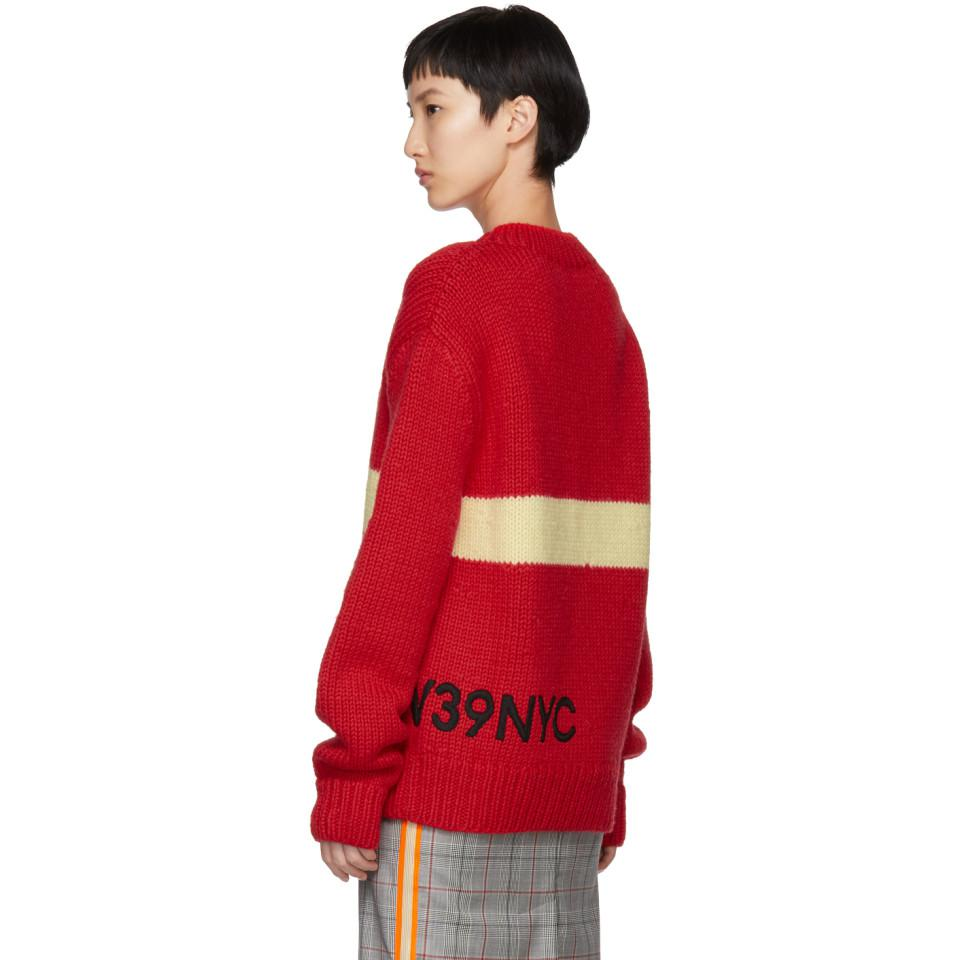 Cheap Discount Authentic Outlet Low Price Fee Shipping Red and Off-White Logo Crewneck Sweater CALVIN KLEIN 205W39NYC Outlet Perfect kUv5n8SJUx