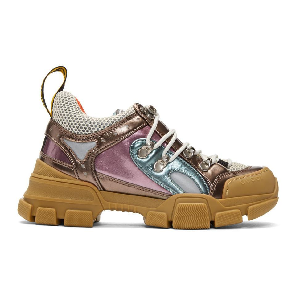41ae29fa24a0 Gucci Pink And Green Flashtrek Sneakers - Save 42% - Lyst