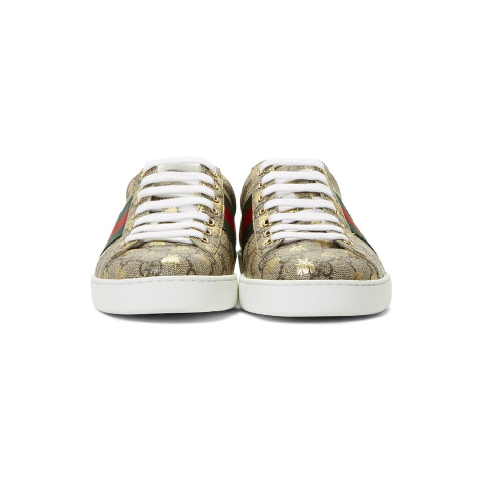 9bdc12141f4 Gucci - Natural Beige And Brown GG Supreme Bees Ace Sneakers for Men -  Lyst. View fullscreen