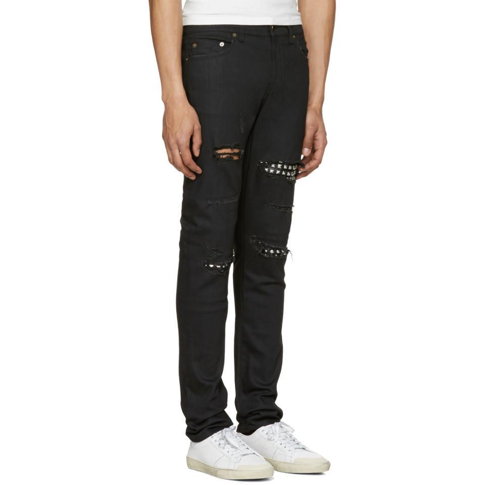 1f2d87c5c6db Lyst - Jean skinny a taille basse cloute noir Saint Laurent pour ...