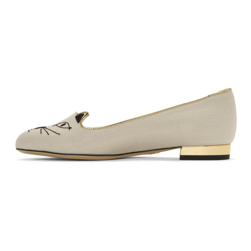Off-White Linen Kitty Flats Charlotte Olympia WtSnz0