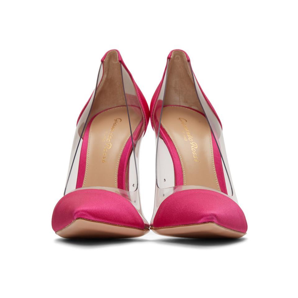 66f27f2904c Gianvito Rossi - Pink Satin Plexi Heels - Lyst. View fullscreen