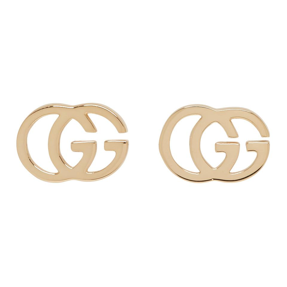 Lyst - Gucci Gold Gg Tissue Stud Earrings in Metallic a46a07a7f4