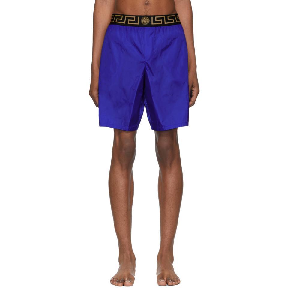 4dbf4be4cfeb6 Lyst - Versace Blue Greca Border Swim Shorts in Blue for Men