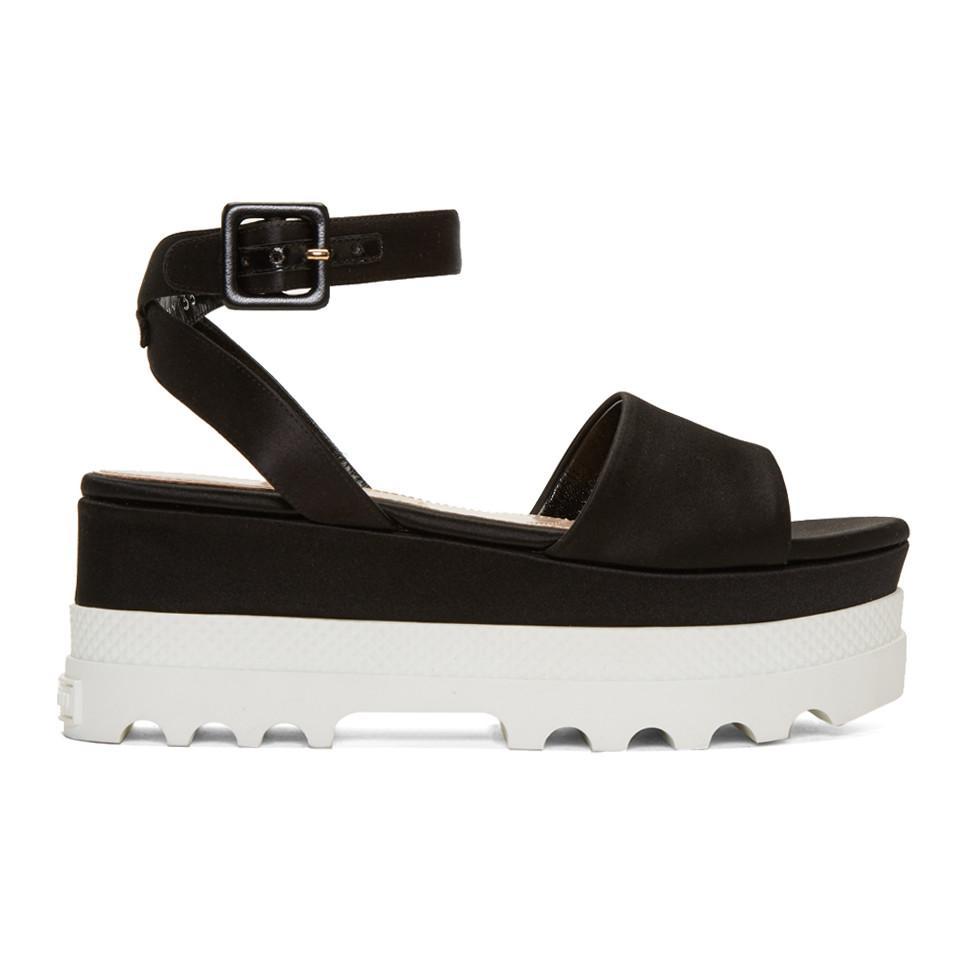 1e6dedf45ca7 Lyst - Miu Miu Black Satin Platform Sandals in Black