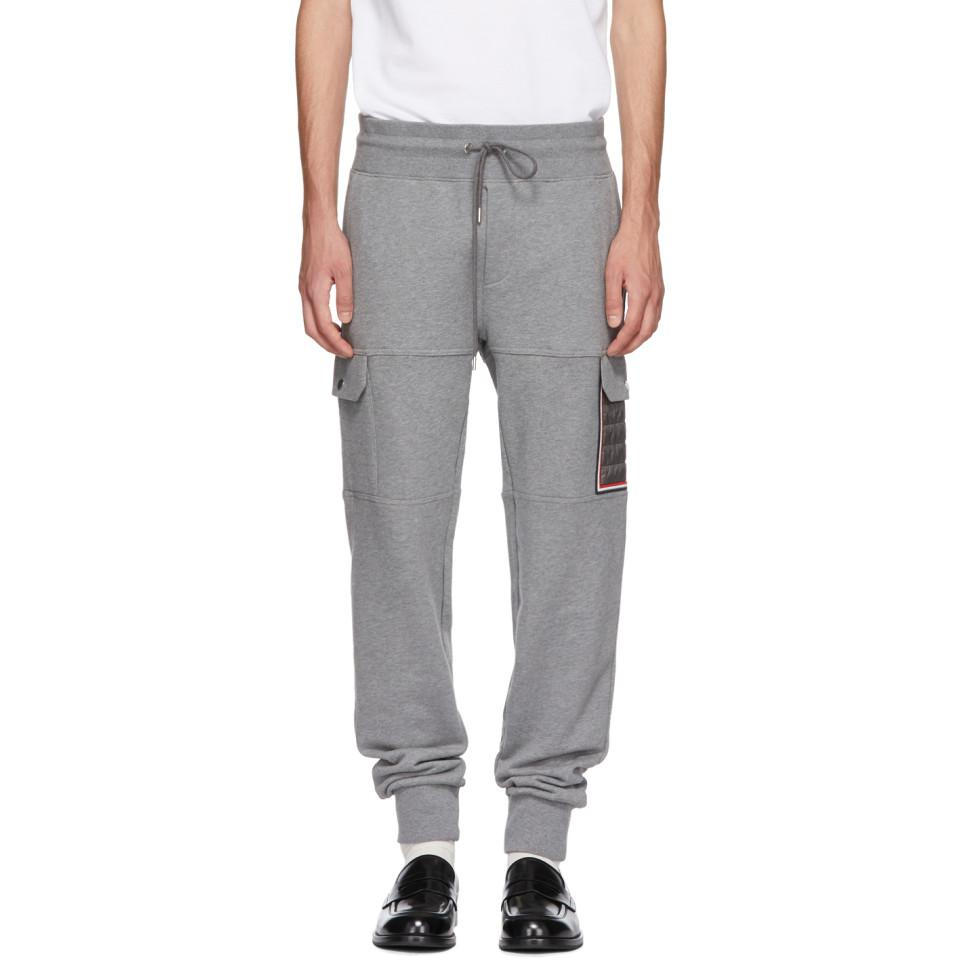 038274513285 Moncler Grey Tapered Cargo Sweatpants in Gray for Men - Lyst