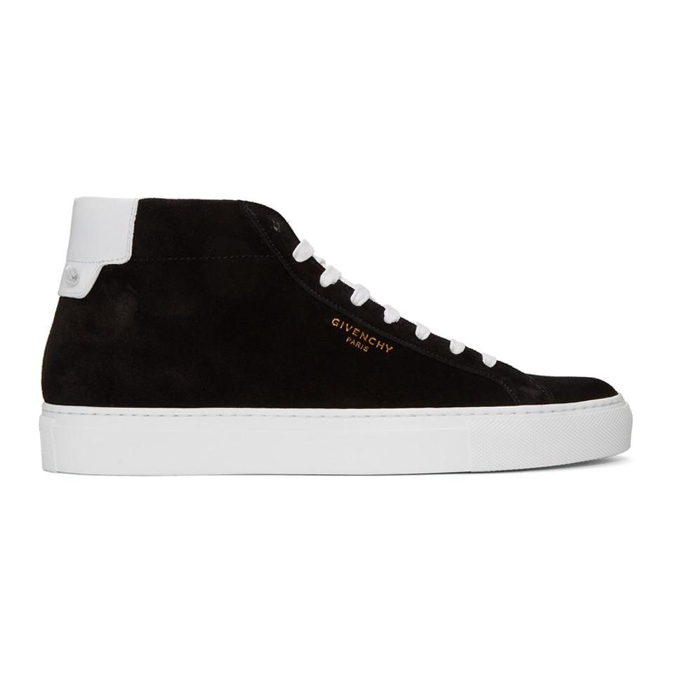Givenchy Black & White Suede Urban Knots Mid-Top Sneakers