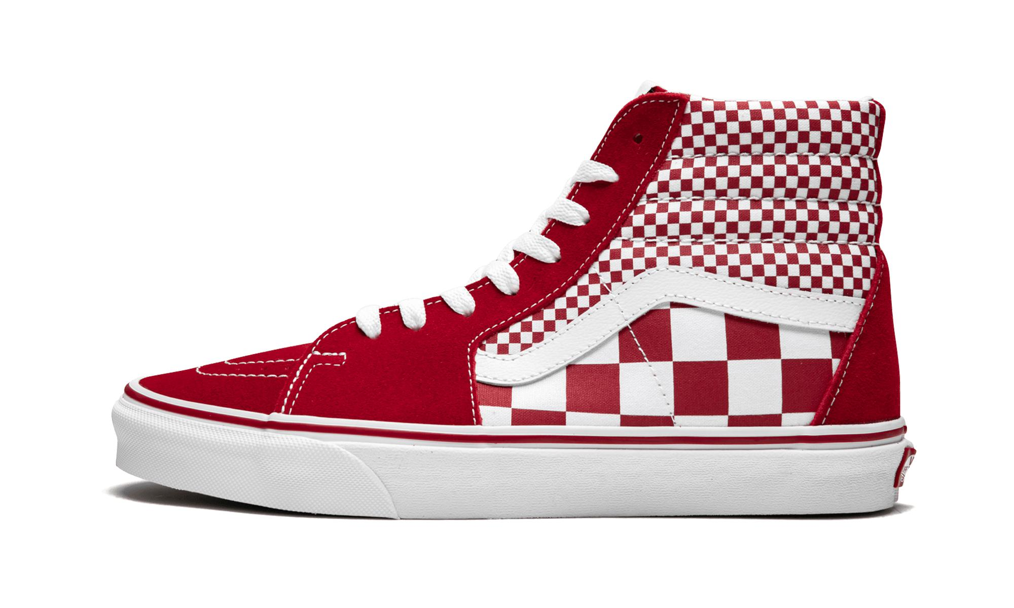 Lyst - Vans Sk8-hi Mix Checker Sneakers in Red for Men - Save 13% ff9920b57